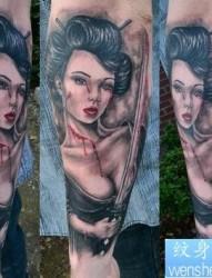 日本纹身图片:手臂日本美女武士纹身图案