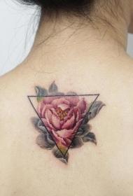 女生背部几何小清新花卉纹身图案