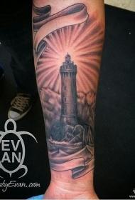 小腿黑灰灯塔个性纹身图案
