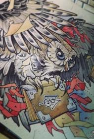 欧美猫头鹰书本school纹身图案手稿