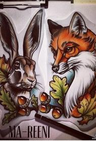 欧美school狐狸兔子纹身图案手稿