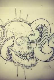 欧美school骷髅蛇线条纹身图案手稿