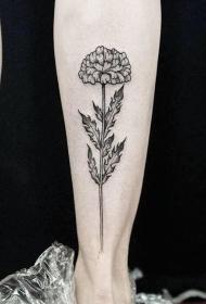 小腿点刺精致的花卉纹身图案