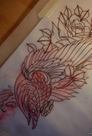 欧美school乌鸦玫瑰纹身图案手稿