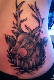 侧腰欧美鹿头纹身图案