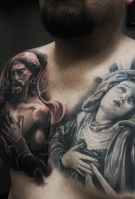胸部欧美写实耶稣和圣母图像纹身
