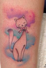 小腿泼墨彩色猫咪纹身图案
