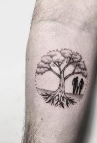 小臂点刺风景树人物纹身图案
