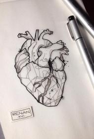 欧美school几何心脏纹身图案手稿