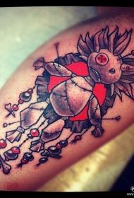欧美小腿布偶纹身图案