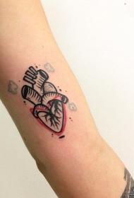 大臂小清新心脏彩色纹身图案