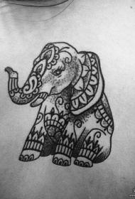 背部大象线条点刺小清新纹身图案