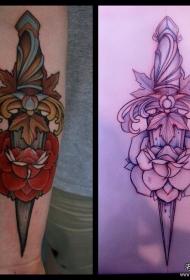 欧美匕首玫瑰小臂纹身图案