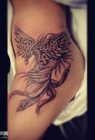 女性腰部凤凰纹身图案