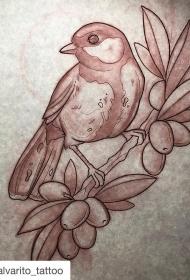 欧美鸟植物黑灰纹身图案手稿