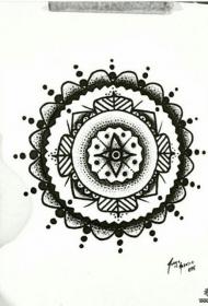 欧美点刺梵花纹身图案手稿