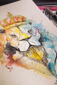 欧美泼墨狮子皇冠纹身图案手稿