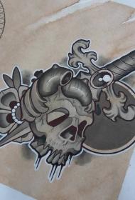 school匕首骷髅花蕊纹身图案手稿