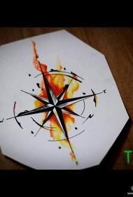 指南针泼墨彩绘纹身图案手稿