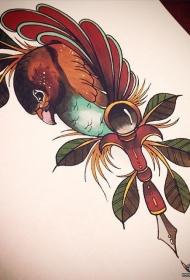 欧美school鸟树叶纹身图案手稿