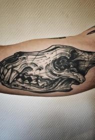 大臂欧美恐龙骷髅头纹身图案