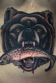 欧美腹部school熊头和鱼纹身图案