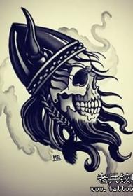 欧美school骷髅恶魔黑灰纹身图案手稿