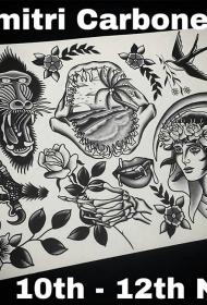 欧式风格old school小纹身图案手稿