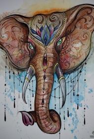 泼墨大象彩绘纹身图案手稿