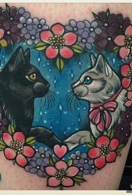 大腿欧美school花朵心形猫纹身图案