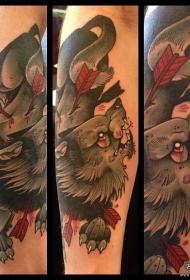 欧美school狼小臂纹身图案