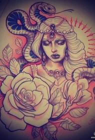 欧美school蛇女郎玫瑰纹身图案手稿