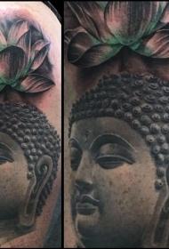 大臂佛和莲花纹身图案