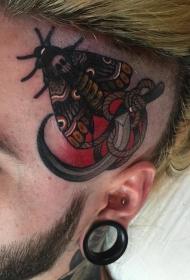 头部school飞蛾镰刀纹身图案
