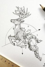 麋鹿几何线条纹身图案手稿