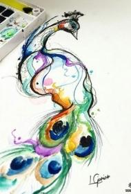 欧美彩色泼墨美丽的孔雀纹身图案手稿