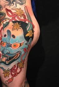 臀部彩绘日式传统般若枫叶tattoo图案