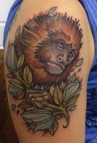 大臂欧美school猴子纹身图案