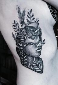 欧美侧腰点刺school植物女郎纹身图案