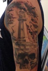 大臂欧美灯塔骷髅飞机纹身图案