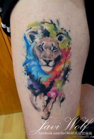 大腿彩色泼墨狮子纹身图案