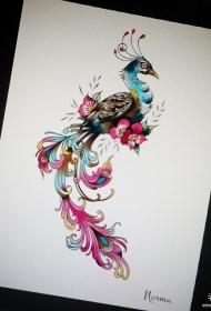 欧美漂亮的孔雀彩色纹身图案手稿