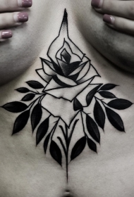 女性胸口school黑灰玫瑰树叶tattoo图案