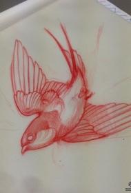 欧美school小鸟纹身图案手稿