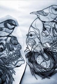 欧美school鸟骷髅鸟巢纹身图案手稿