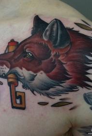 肩部欧美school狐狸纹身图案