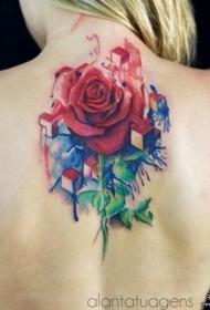 背部欧美彩色泼墨玫瑰纹身图案