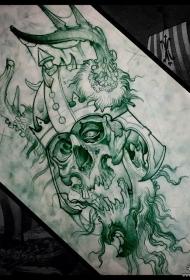 欧美骷髅school鹿角纹身图案手稿