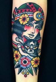 小腿old school部落女郎和猫tattoo图案