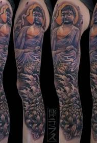 手臂彩绘佛和菊花纹身图案